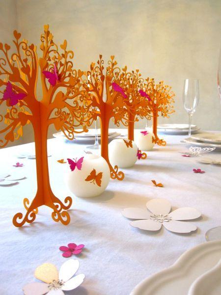 Hochzeit Tischdeko Herziger Baum Orange Pink
