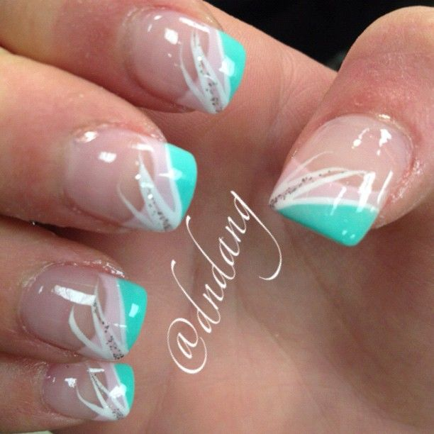 White and teal nail art