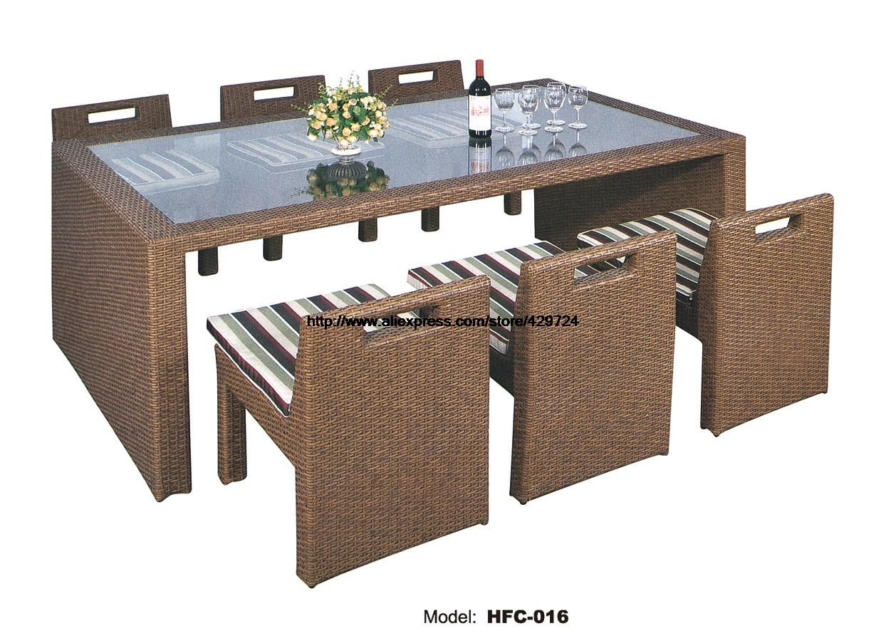 Glass table rattan chair combination set creative leisure outdoor
