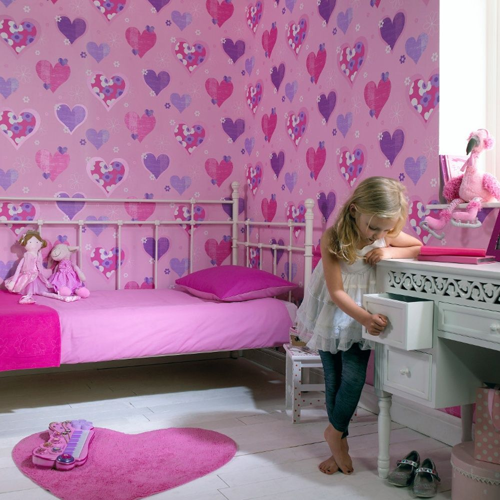Arthouse Happy Hearts Flowers Luxury Girls Childrens Kids Bedroom Wallpaper  533701