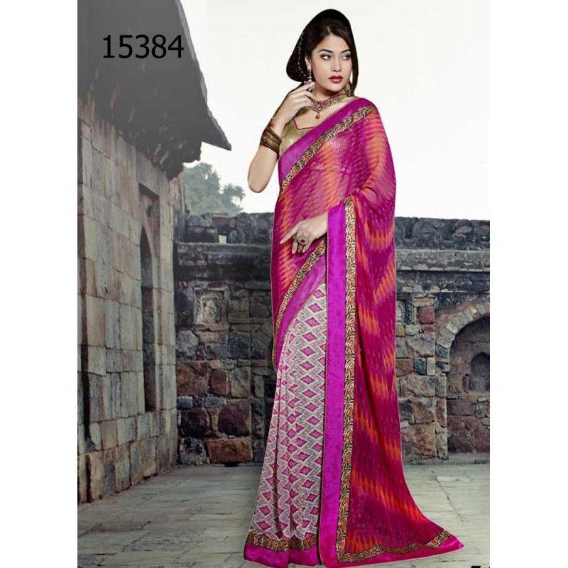 Designer Georgette Checkbox Style Print Pattern Party Wear Pink & Orange Saree - 15384 ( ML - 895 )