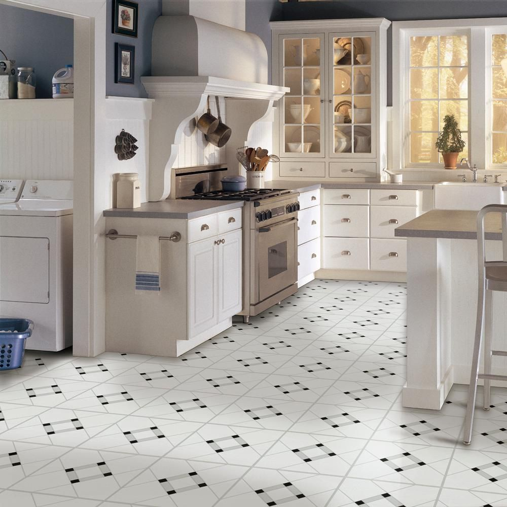Armstrong Lattice Lane Black White 12 In X 12 In Residential Peel And Stick Vinyl Tile Flooring 45 Sq Ft Case 25280011 The Home Depot Kitchen Flooring Vinyl Tile Flooring Vinyl Tile
