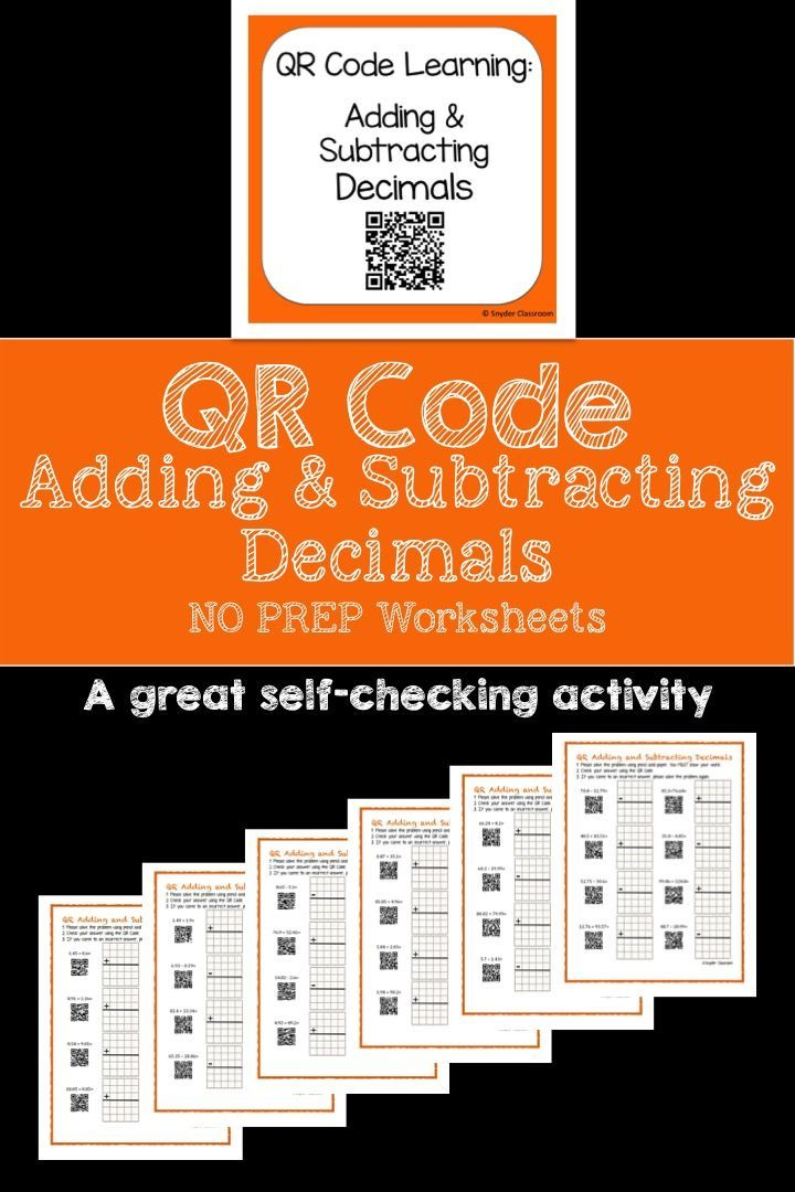 engage your students with these self checking qr code adding and subtracting decimals worksheets and students love checking their work on their devices - Adding And Subtracting Decimals Worksheet