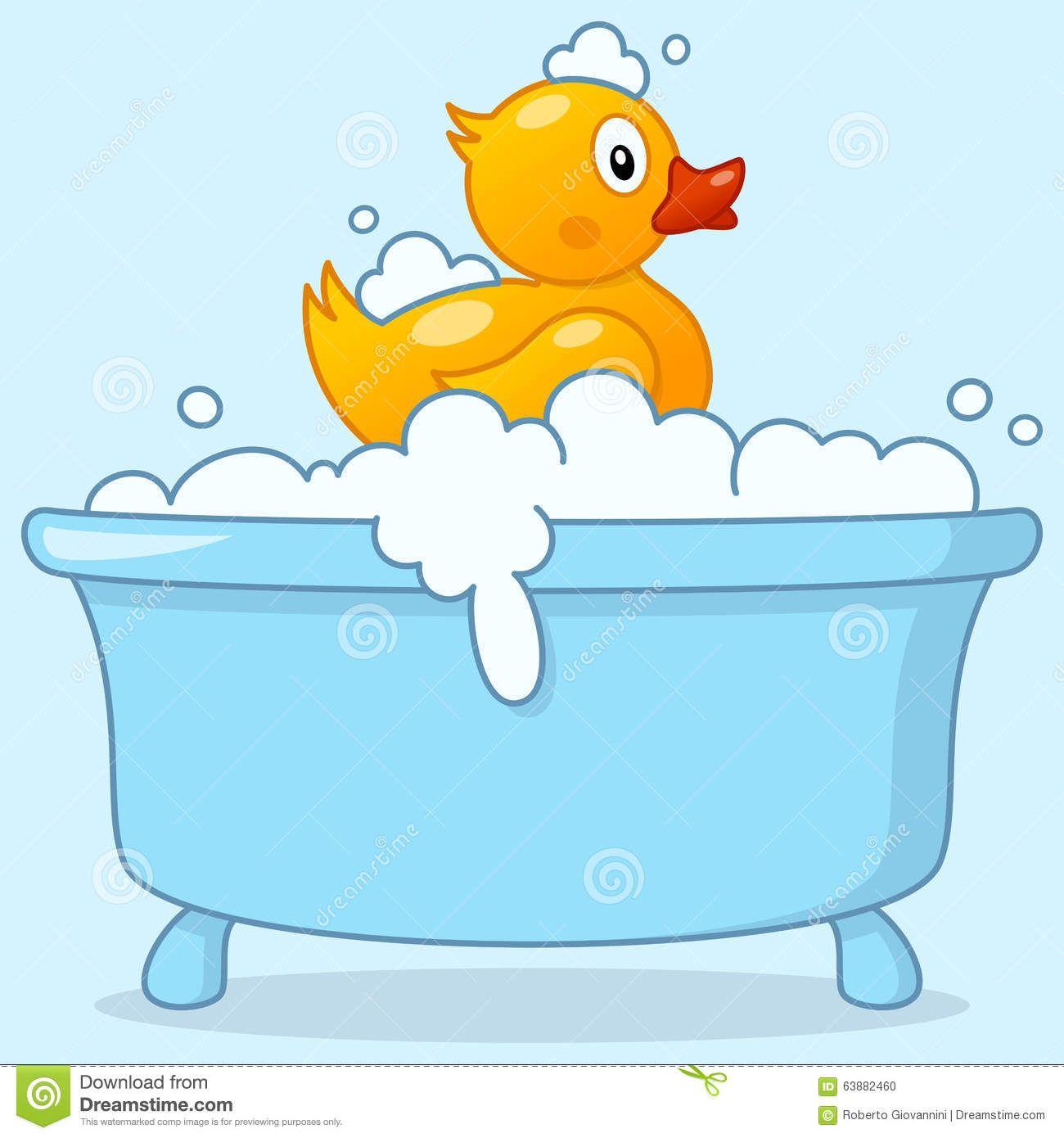 Cartoon Boy Bathtub With Rubber Duck Stock Vector