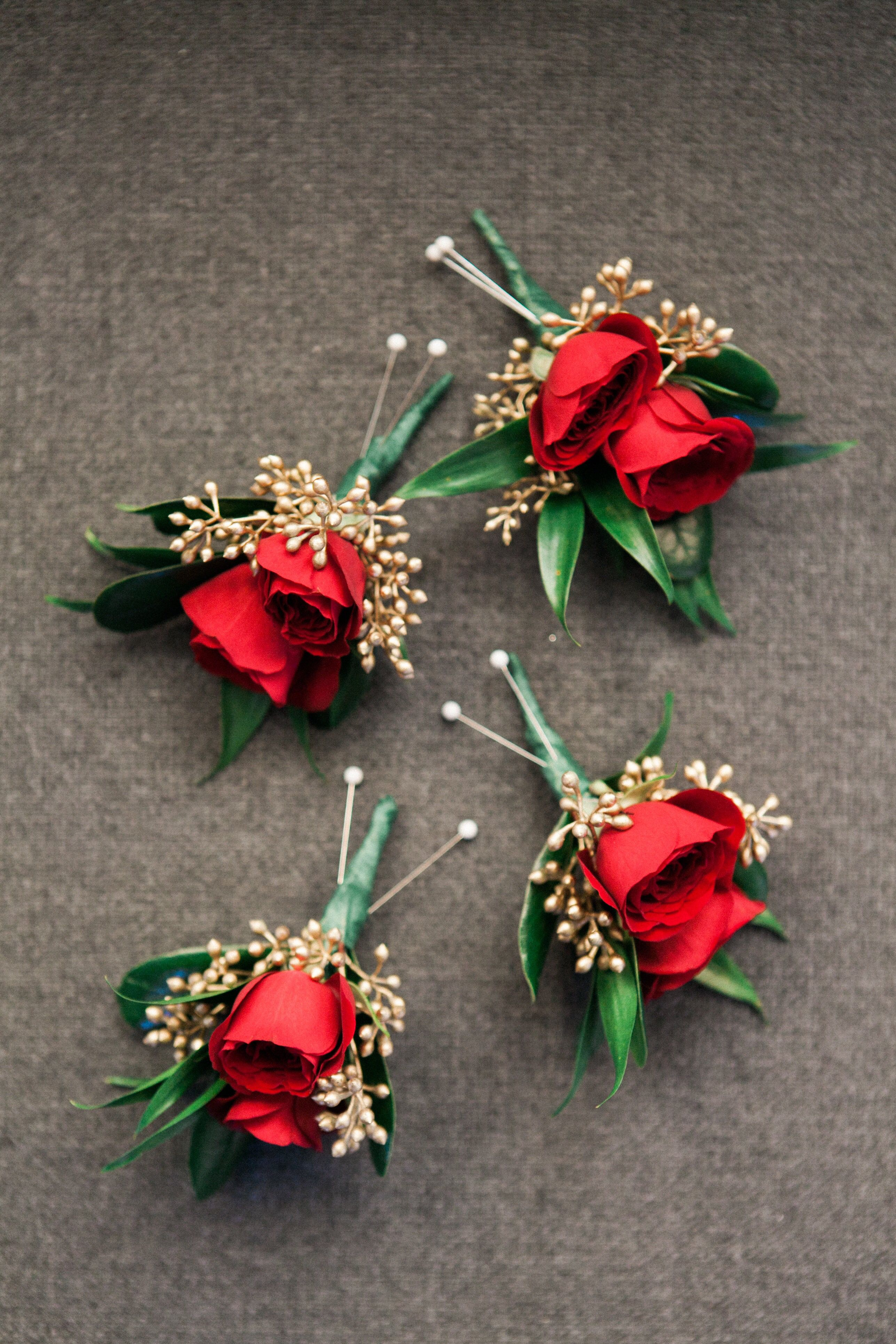 red rose boutonni232re with gold seeded accent contact