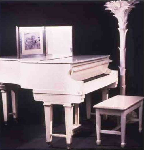 Marilyn's white piano bought by her mother in the 1930s. Marilyn found the piano at an auction in the 1950s.