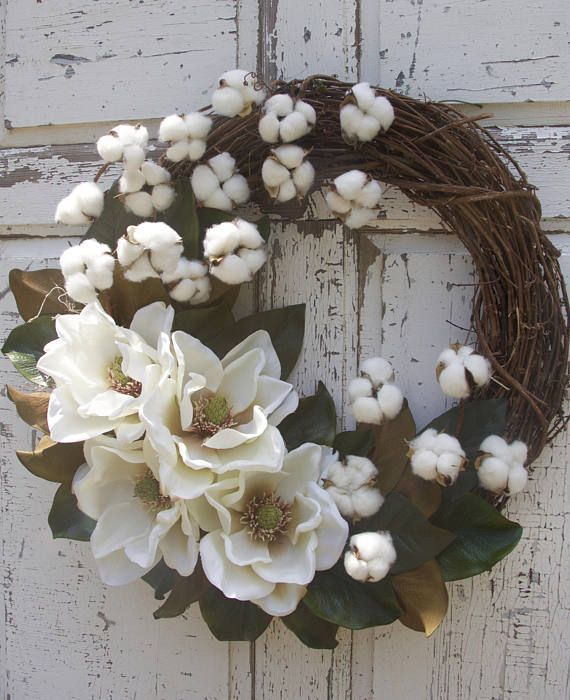 Photo of Monogram Wreath Magnolia Wreath Cotton Boll Wreath Southern – 2019 – Cotton Diy