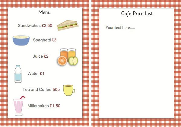 free menu with prices for kids Editable Cafe Price List   Menu - school menu template