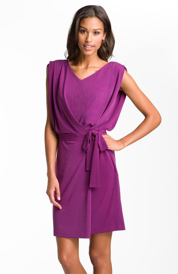 855796be1975 Suzi Chin for Maggy Boutique Draped Jersey Faux Wrap Dress (size 16 ...