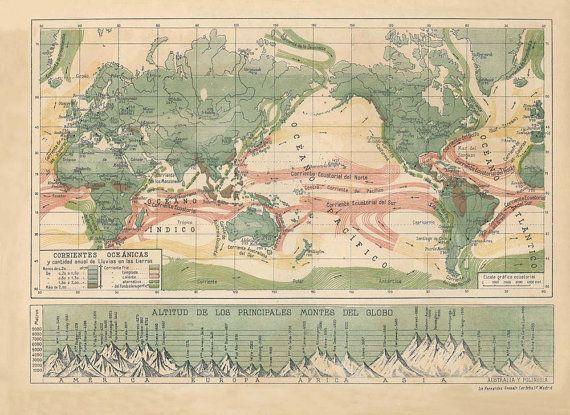An art print of a 1940s world map of ocean currents and a graph of an art print of a 1940s world map of ocean currents and a graph of the gumiabroncs Images