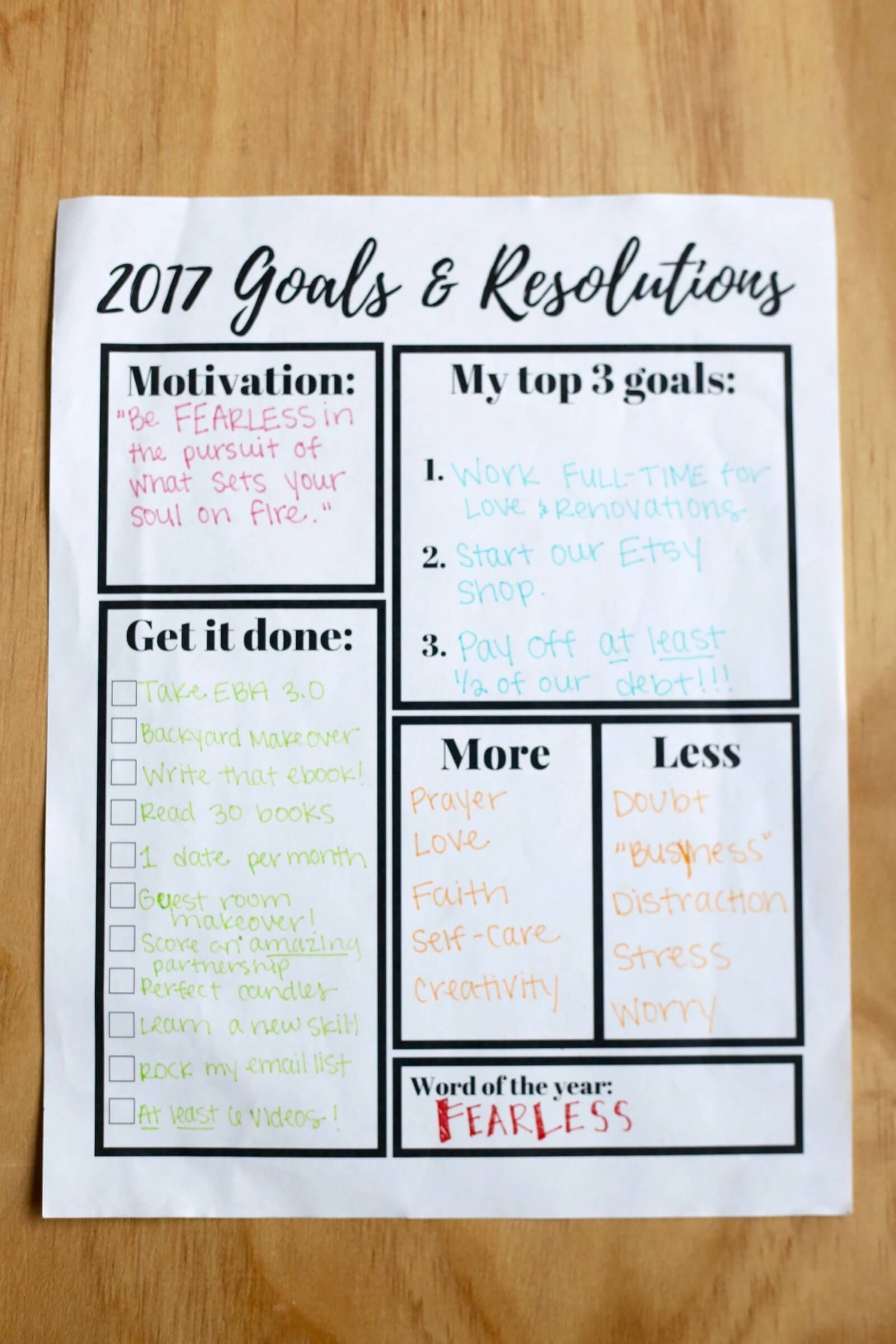 Goals Resolutions Printable