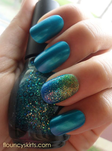 For the ocean/water part of Mermaid Nails: Orly - It's Up to Blue, which is a cool aqua-ish metallic blue with a hint of shimmer. For the mermaid tail part: Sinful Colors nail polishes