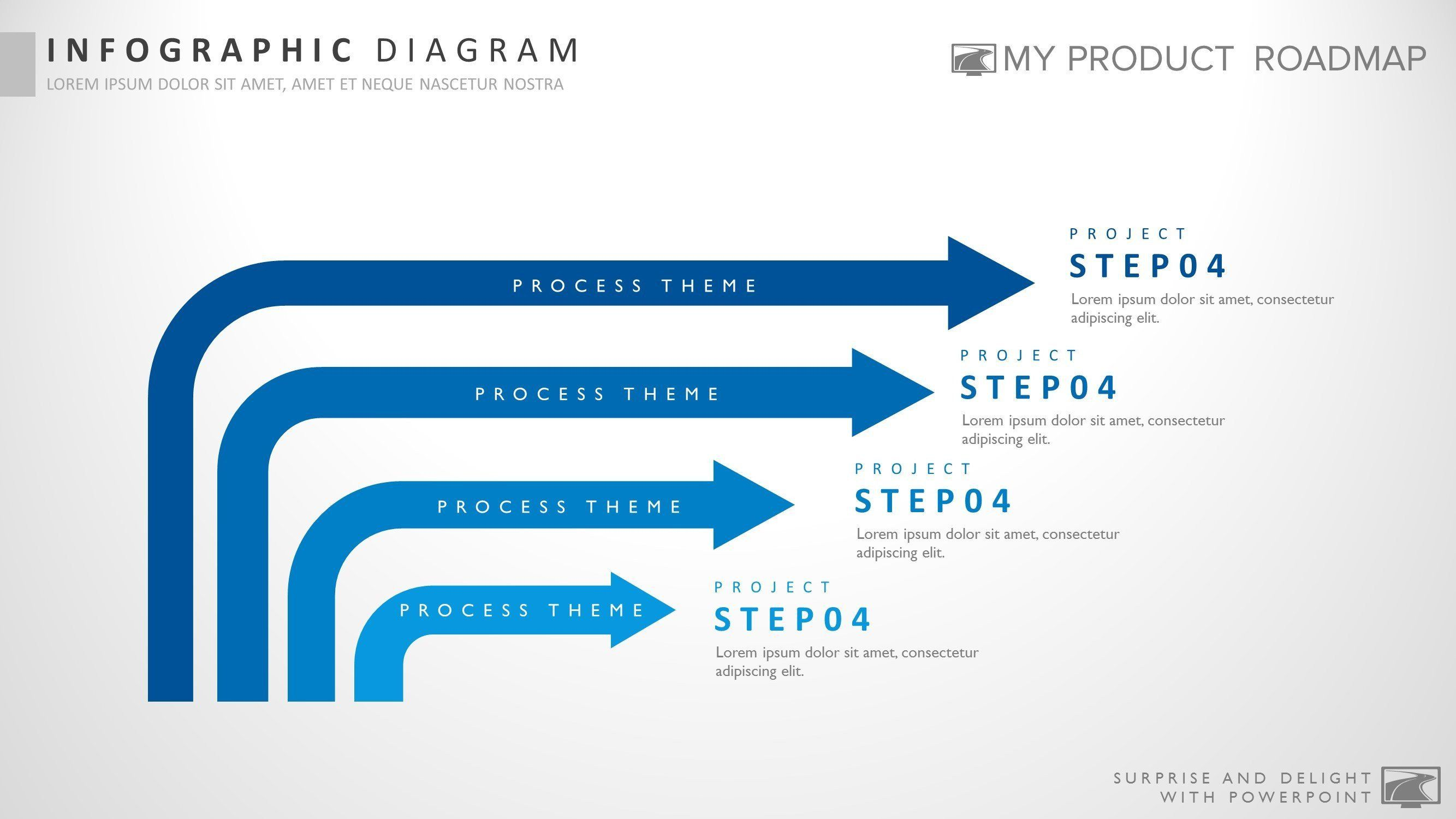 Four Stage Creative Powerpoint Strategy Infographic Theme Template