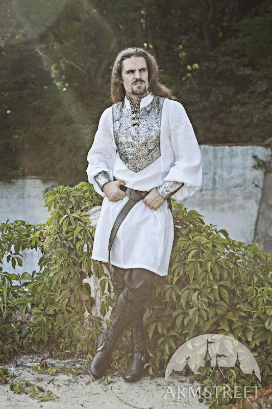 Exklusive Hochzeits Tunika Aus Leinen Mit Brokatverzierungen Mittelalter Kleidung Mittelalterhochzeit Mittelalter Kostume