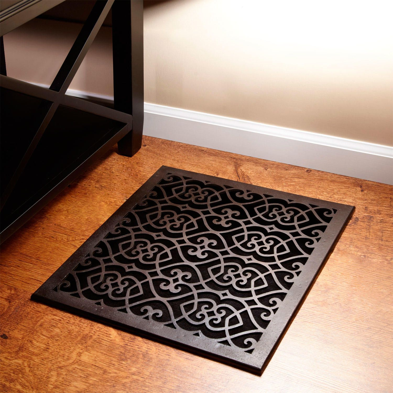 "Oversized Victorian Bronze Floor Air Return In 14""x14"" (15"