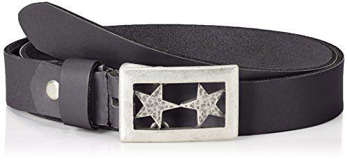 4a53d3e066e339 MGM Damen Gürtel Doubel Star (schwarz 1) 110 cm. Weiches Rindsleder mit  ausgefallener