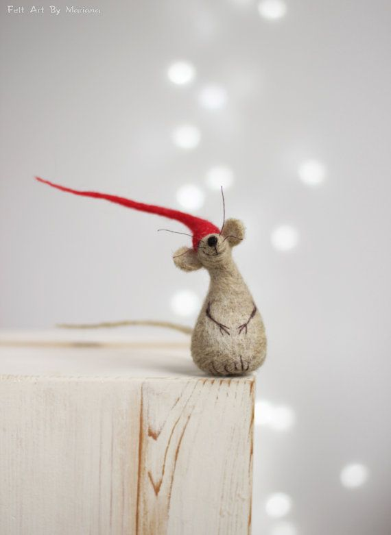 Needle Felted Mouse - Christmas Felt Mouse With A Red Hat - Santa Elf - Mouse Elf - Christmas Elf - Art Doll - Christmas Home Decor