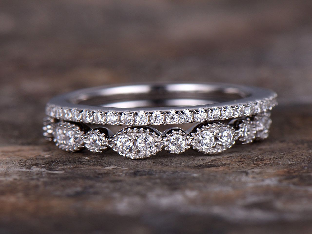 Sterling Silver Wedding Ring Eternity Engagement Band Gold Finish New