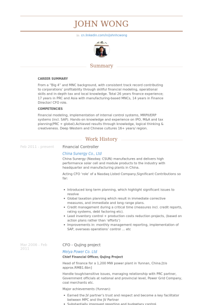 Financial Controller Resume Example J O B Sample