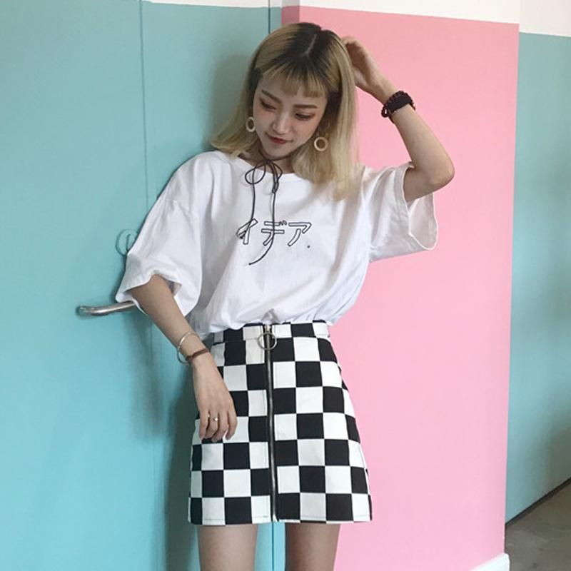 "66865117186e3b BW CHECKERED FRONT ZIPPER RING PU SKIRT 💝Use coupon ""ITPIN"" to get ..."