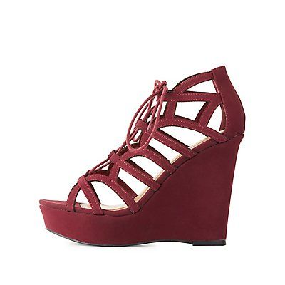 Red Caged Lace Up Wedge Sandals Size 8 Products Wedge Sandals