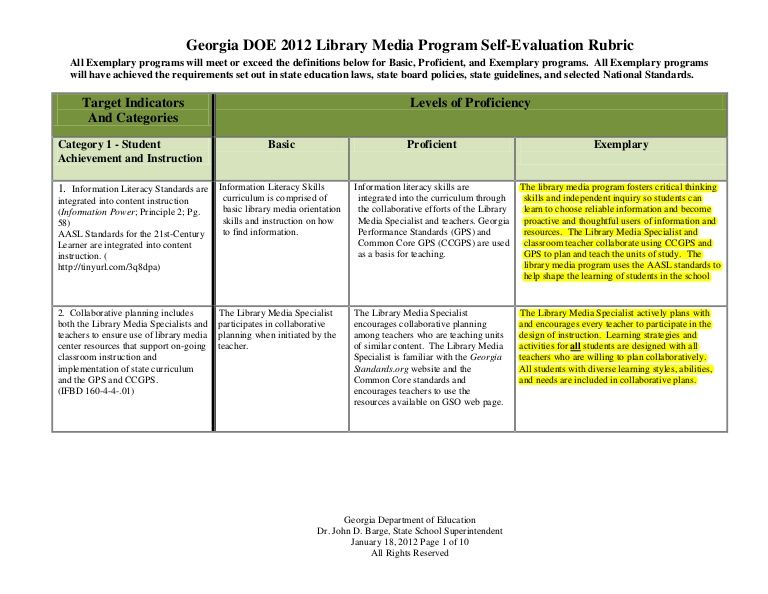 School Library Media Self- Evaluation Rubric Slideshare Compute - definition evaluation