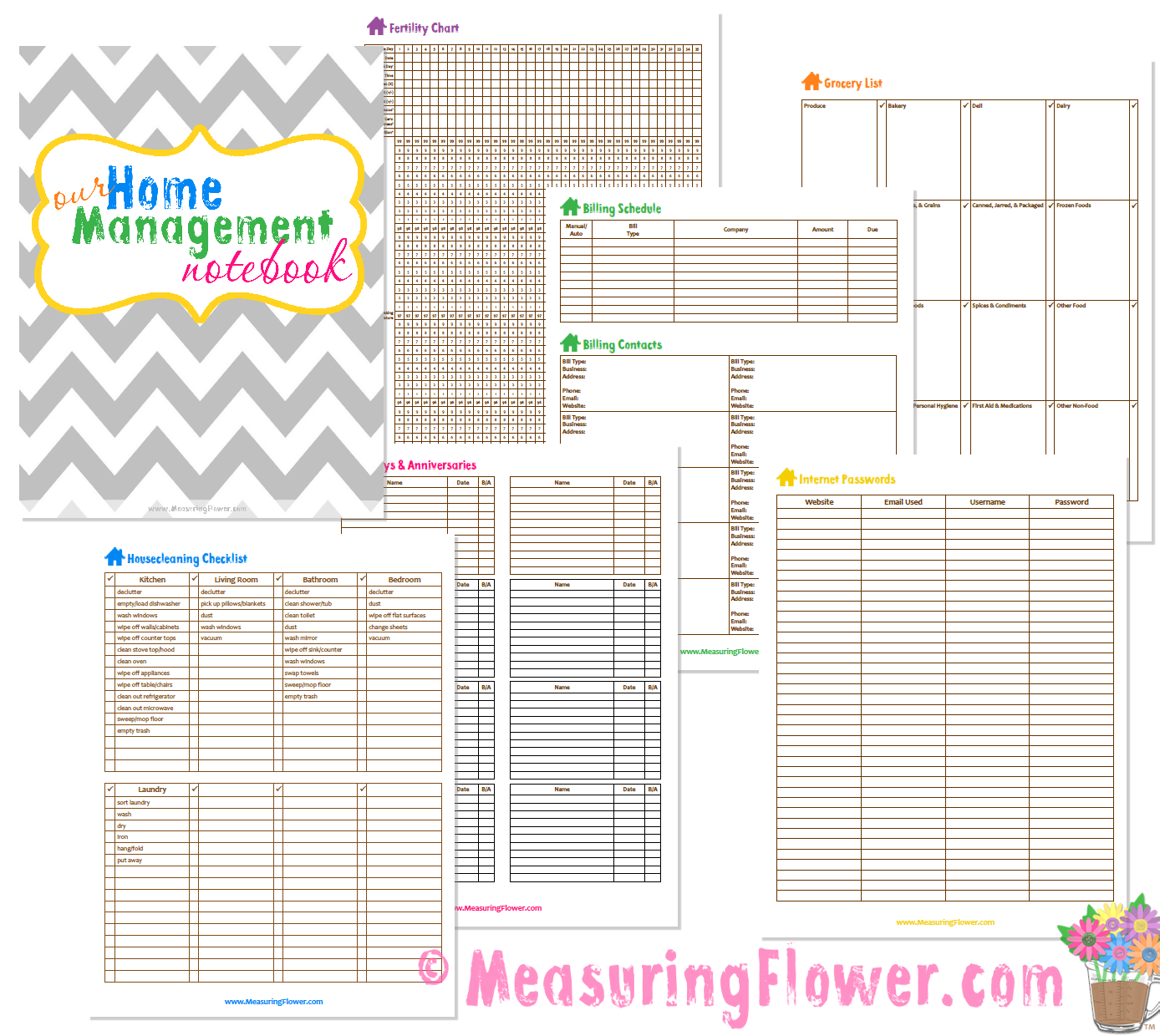 This is a picture of Crazy Household Notebook Printables