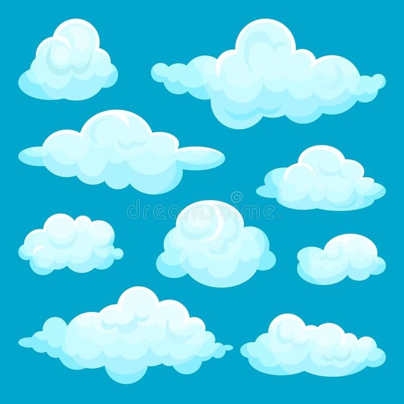Flat Vector Set Of Fluffy Clouds Sky And Weather Elements Cartoon Design For Mobile Game Children Bo In 2020 Cartoon Clouds Color Pencil Illustration Cartoon Design