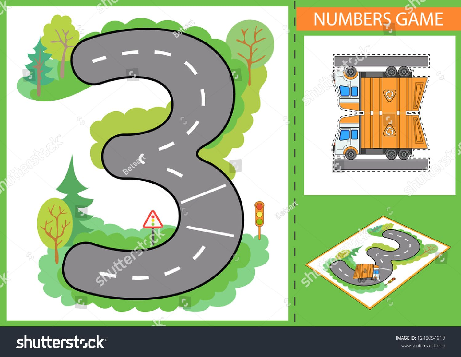 Write Numbers Children Game For Numerals Learn Kids Background With Road And Paper Garbage Truck Wallpaper For Chil Games For Kids Kids Background Road Kids