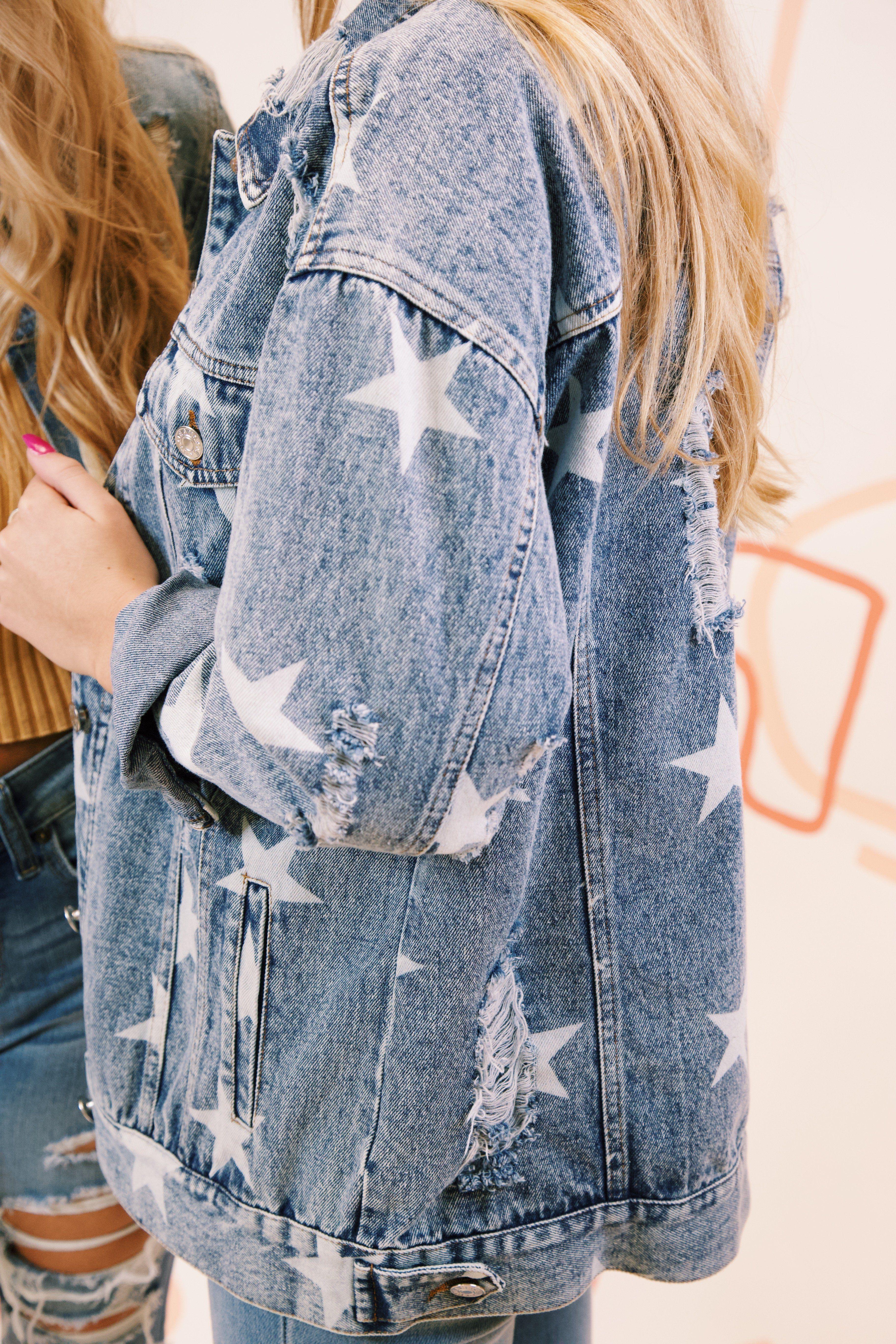 Milky Way Star Printed Distressed Denim Jacket Medium Denim Blue In 2021 Diy Denim Jacket Distressed Denim Jacket Denim Fashion [ 5472 x 3648 Pixel ]