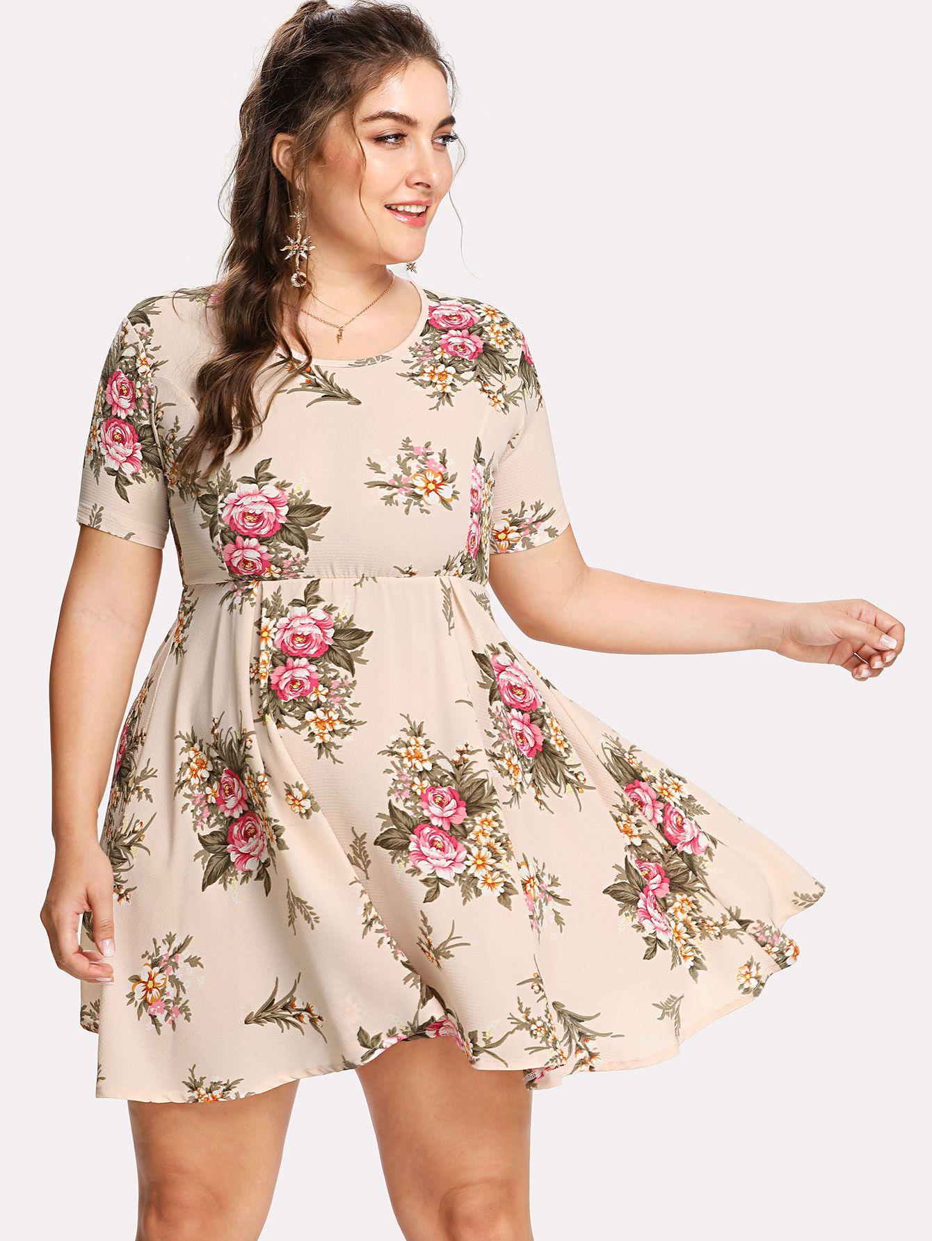 Plus Flower Print Fit Flare Dress Fit Flare Dress Short Sleeve Dresses Dresses [ 1785 x 1340 Pixel ]