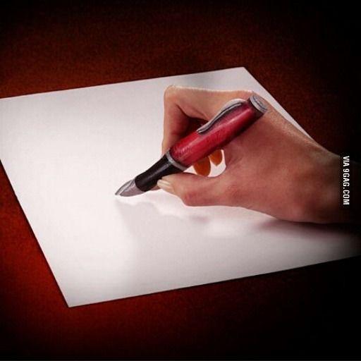 It's the index finger, not a pen