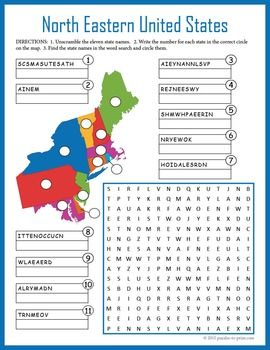 US Geography Worksheet - North Eastern United States | Word Search ...