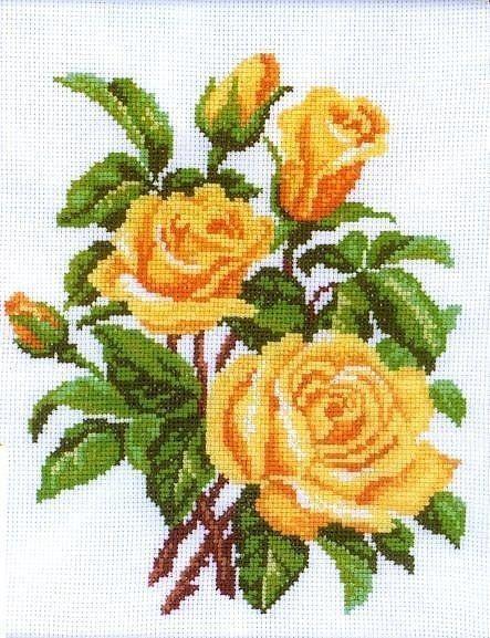 Схема вышивки крестом Желтая роза скачать бесплатно 60
