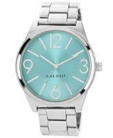 Nine West Women's Silver-Tone Adjustable Bracelet Watch 42mm NW-1585TLSB