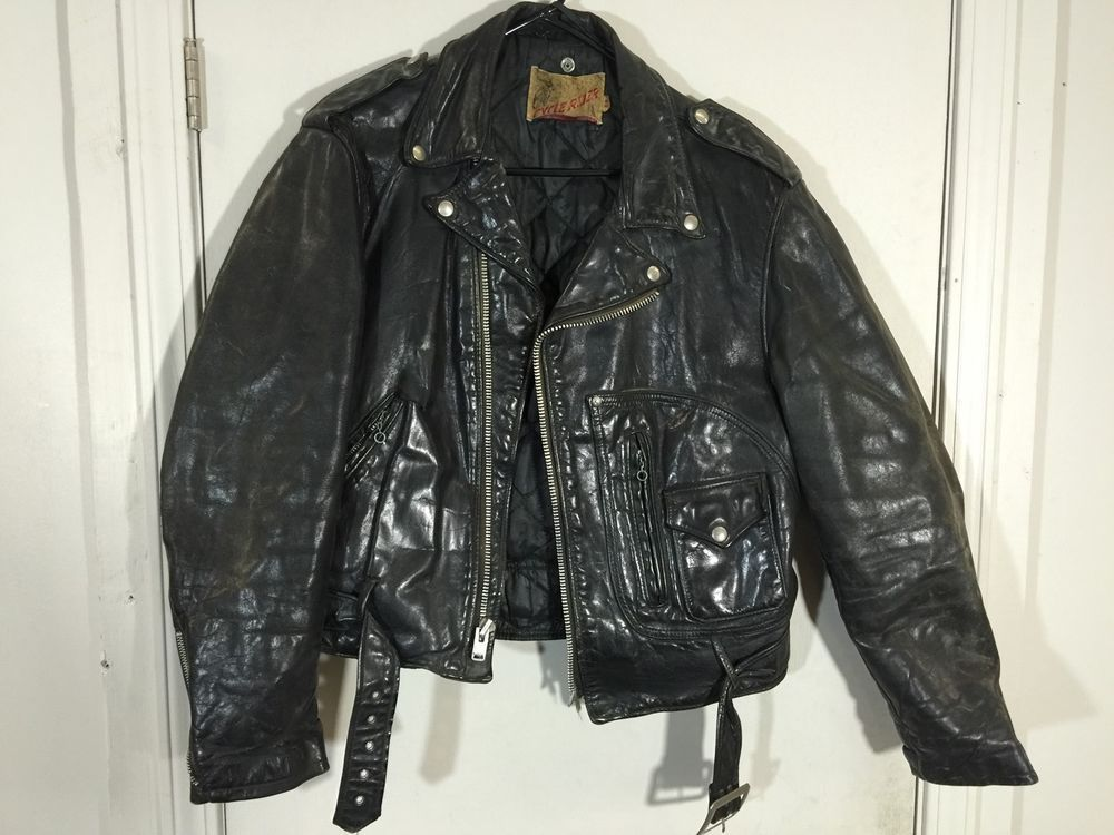 8af5e01d78 RARE VTG CYCLE RIDER SCHOTT MOTORCYCLE LEATHER JACKET 44 MEN 50S 60S USA  RIDING