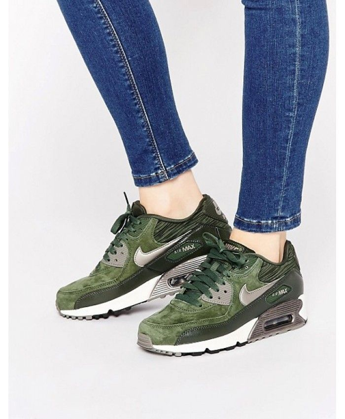Femme Nike Air Max 90 Leather Carbone Vert Chaussures
