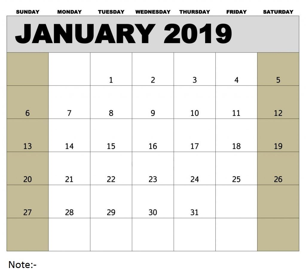 January Calendar Printable 2019 Blank Calendar Template