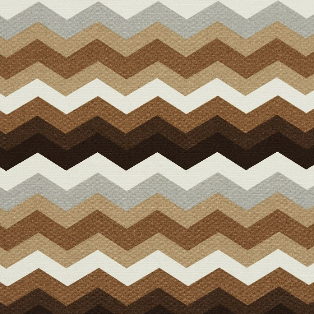 Brown, Grey And White Chevron Flame Stitch Outdoor Upholstery ...