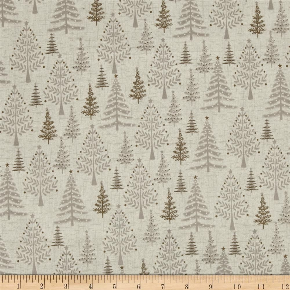 Scandi 3 Trees Linen from @fabricdotcom Designed by The Henley Studio for Makower UK, this festive cotton print is perfect for quilting, apparel, and home decor accents. Colors include shades of tan.