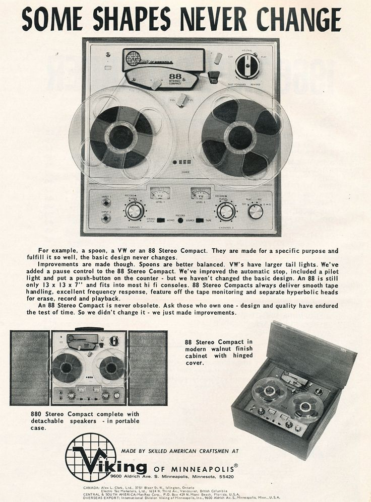1966 Ad For The Viking 88 Reel To Reel Tape Recorder In