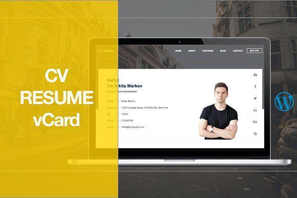CV Resume WordPress Theme by physcode on @creativemarket Website