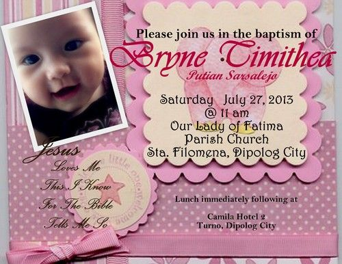 diy baby girl christening invitation