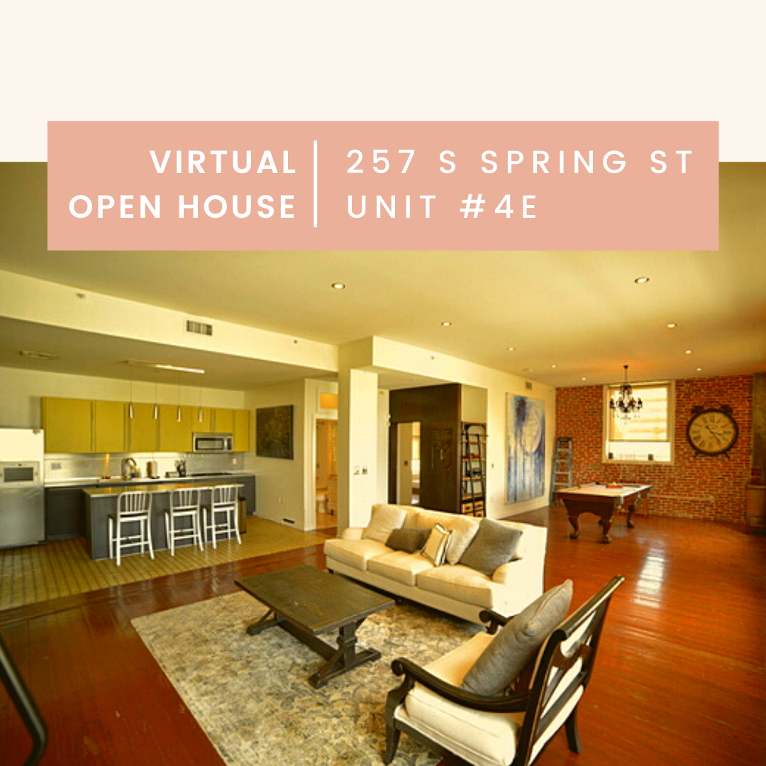 Virtual Open House Stunning Downtown Los Angeles Loft For Sale Now Features 2 Bedroom 1 Bathroom Corner Unit Pan In 2020 Bathroom Corner Unit House Open House