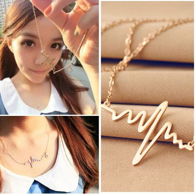 Cheap heart necklace, Buy Quality necklaces for women directly from China chocker necklace Suppliers: Hot Simple Wave Heart Necklace Chic ECG Heartbeat Gold Colour Pendant Charm Lightning Chocker Necklace for Women Vintage Jewelry