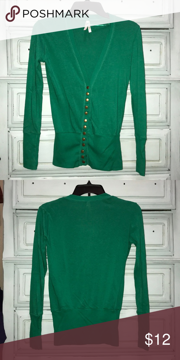 "63de562a8d Button snap cardigan Popular button snap cardigan. Don t remember ever  wearing it! Perfect ""Christmas"" green color Color Story Sweaters Cardigans"