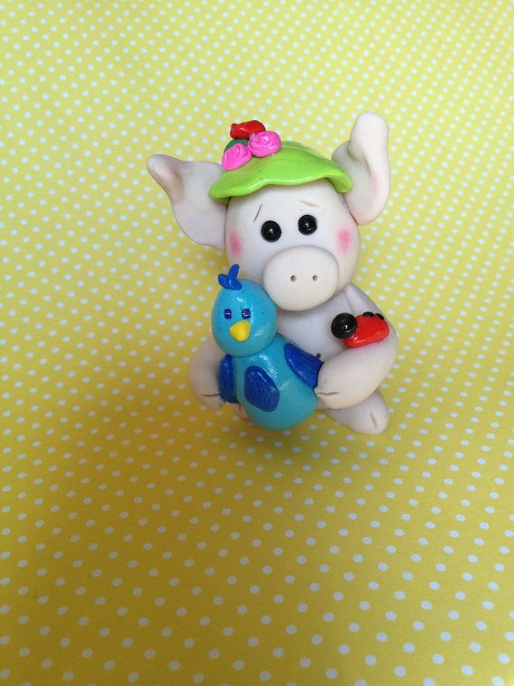 Polymer Clay Summer's Day Pig - Summer Home Decor - Pig Gifts - Cake Topper - Polymer Clay Bird on Etsy, $16.00
