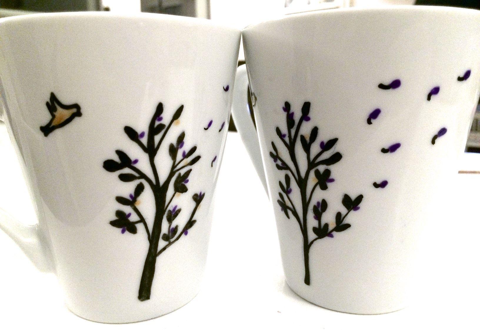 Tuto Peinture Sur Porcelaine diy : tasses décorées - peinture pour porcelaine | tasses