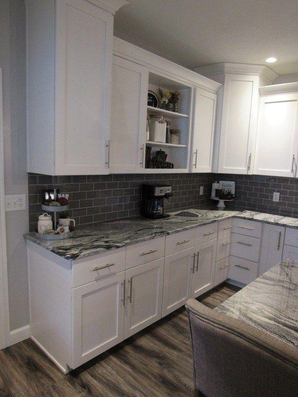 Modern Farmhouse Kitchen Remodel - white shaker cabinets, gray island