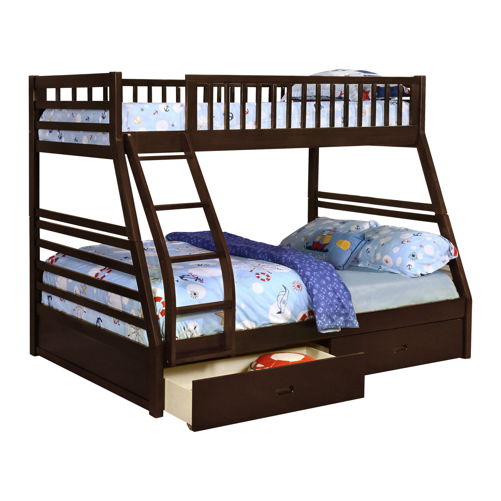 Bunk Bed Pilaster Designs Espresso Finish Wood Twin Over Full Size Convertible